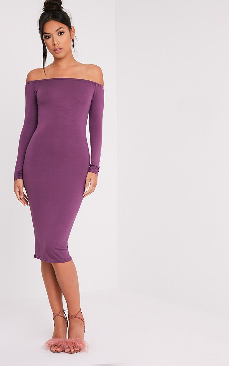Basic Aubergine Jersey Bardot  Midi Dress 1