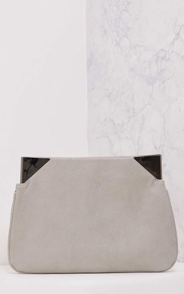 Trina Grey Metal Trim Clutch