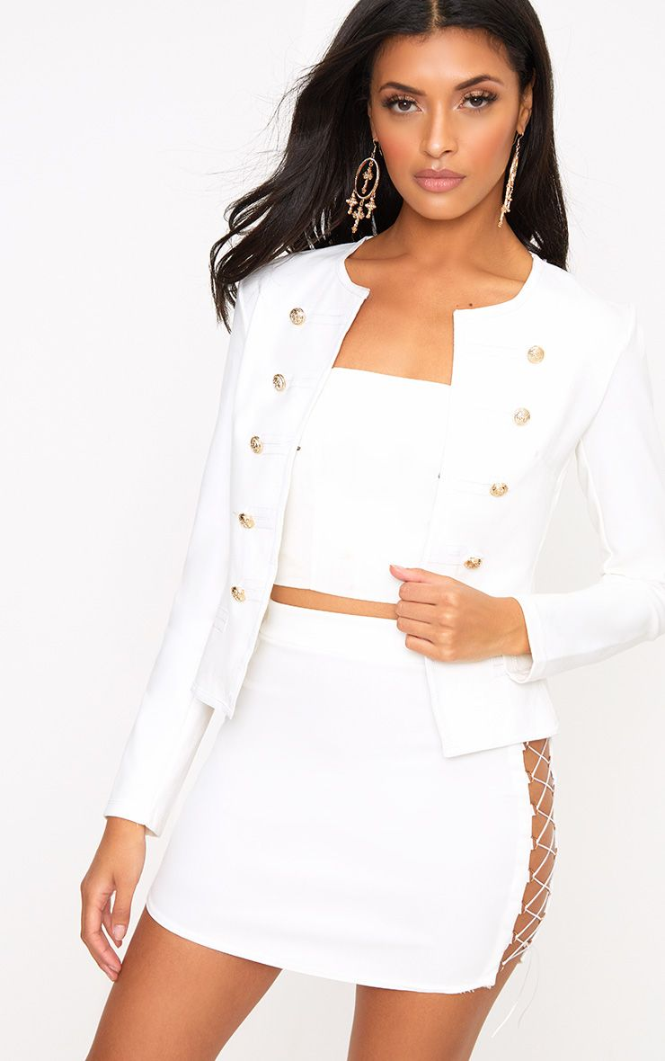 Aeldra White Cropped PU Trim Military Jacket