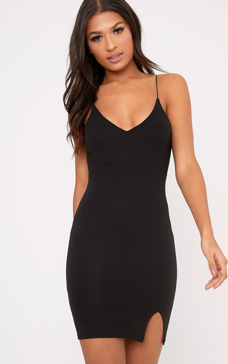 Camayah Black Strappy Plunge Bodycon Dress