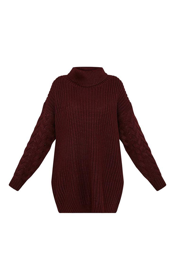 Finolla pull à manches en tricot torsadé surdimensionné bordeaux 3