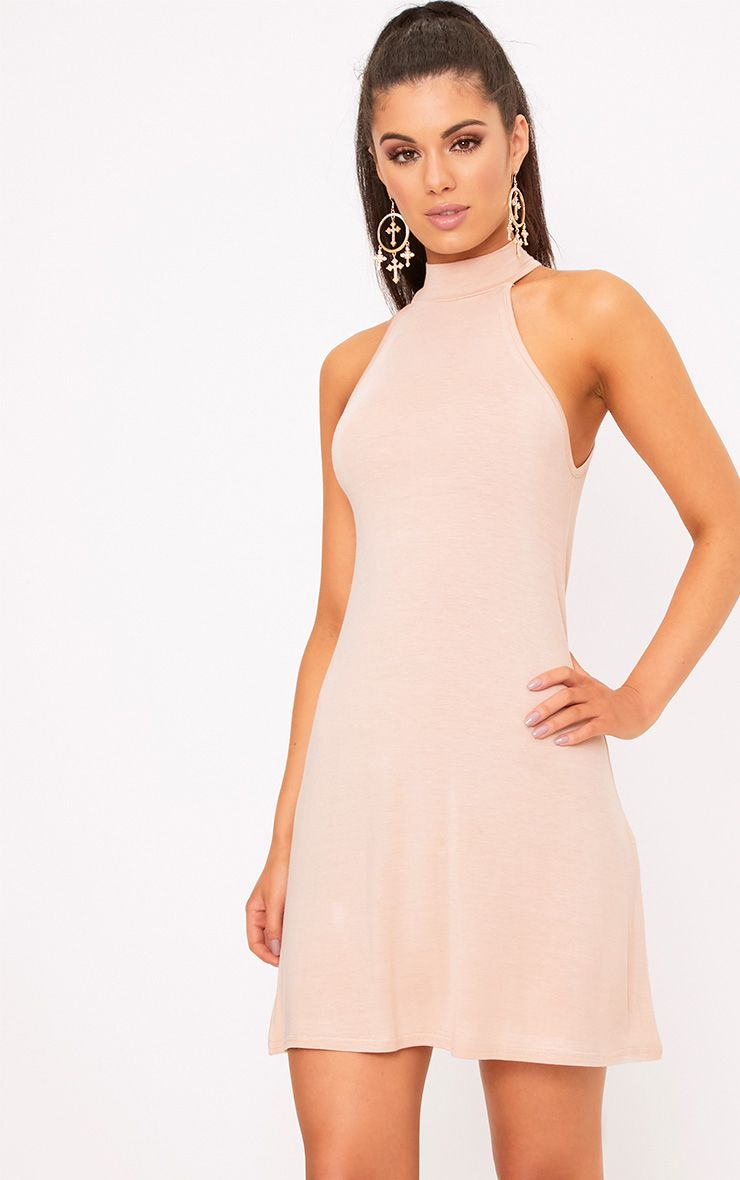 Nude Jersey High Neck Swing Dress