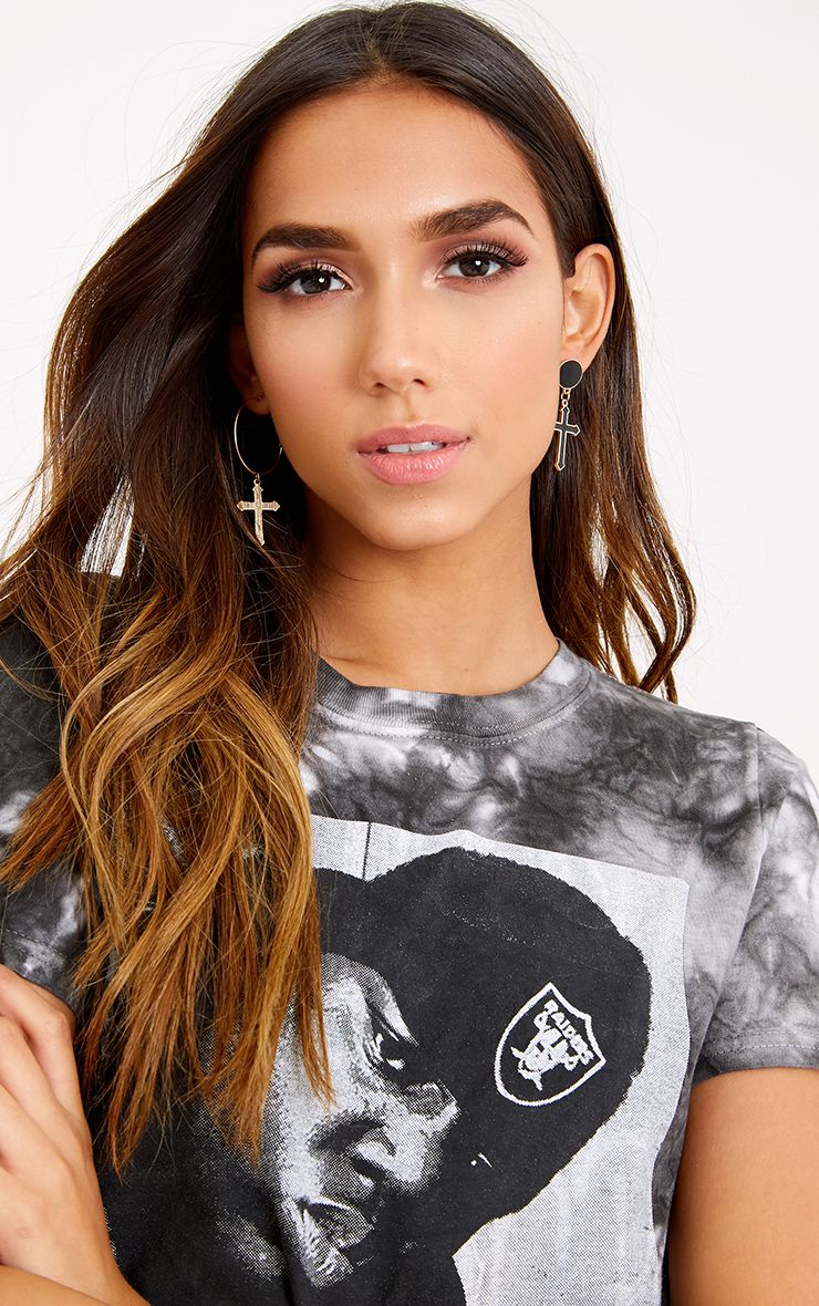 Cara Black Mixed Size Cross Hoop Earrings