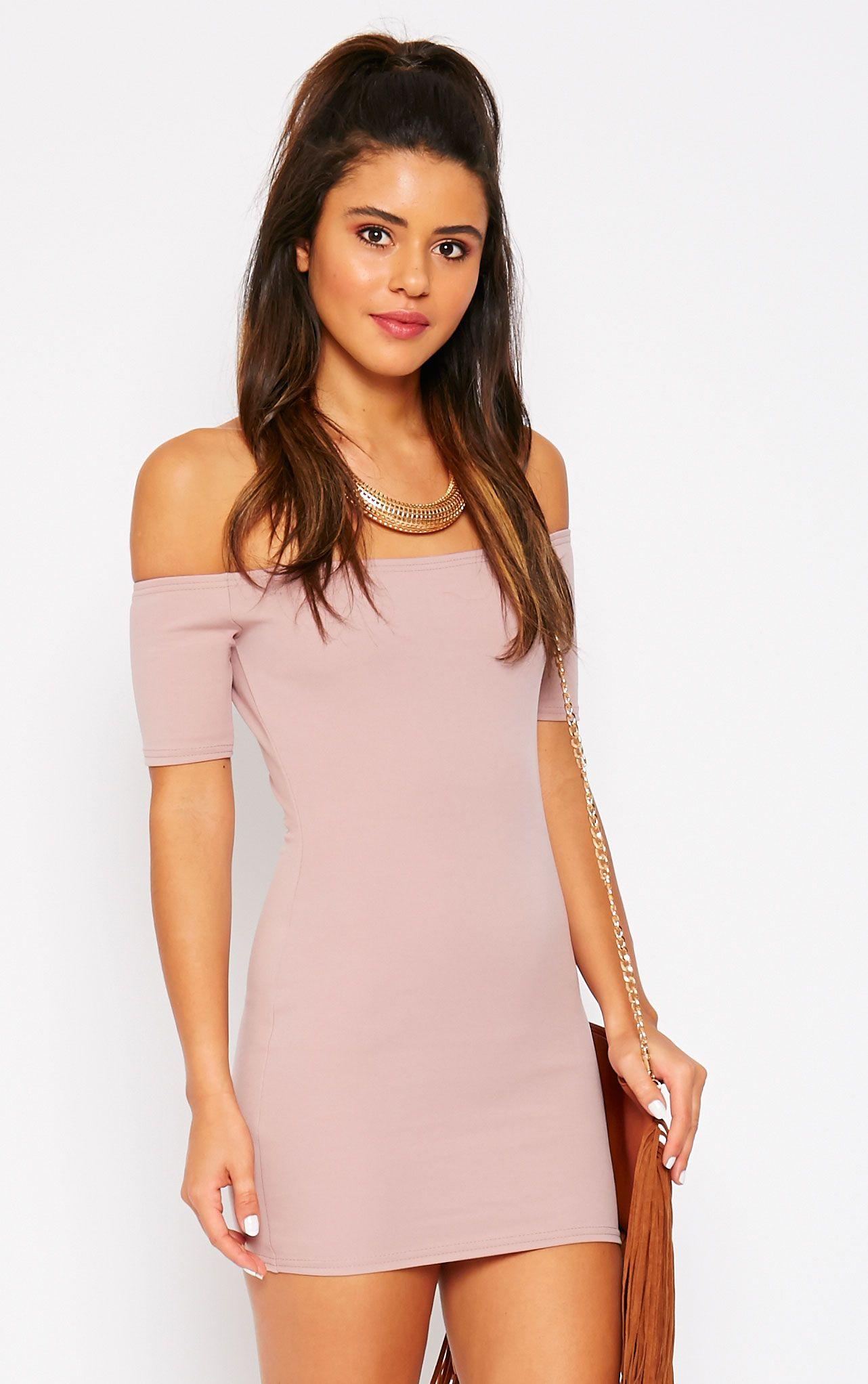 Tobiah Mauve Bardot Bodycon Dress 1