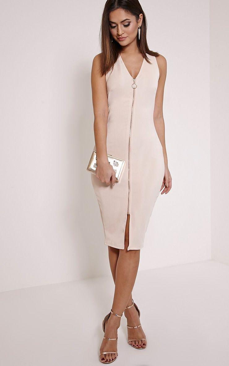 Largest Supplier White Zip Detail Midi Dress Pretty Little Thing Store Sale Online EGBfPOnhZx