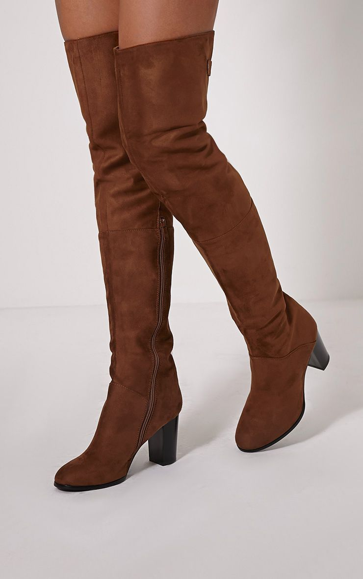 Keyra Tan Faux Suede Over The Knee Boot 1