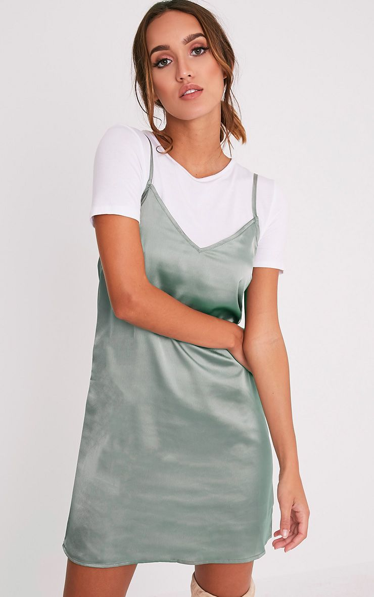 Stephany Sage Green Satin Slip Dress 1