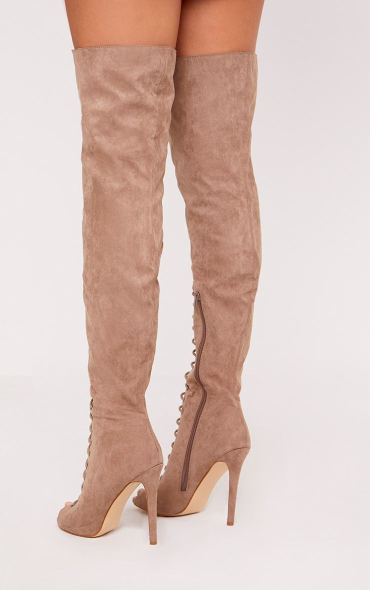 Malinda Mocha Lace Up Peep Toe Thigh High Boots 5