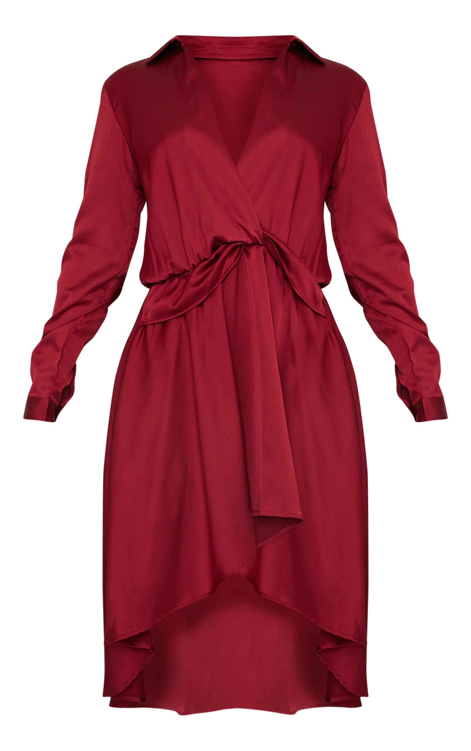Gabbie Burgundy Silky Wrap Over Midi Dress  3