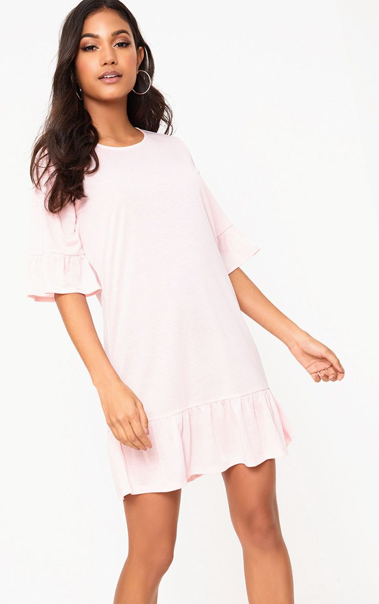 Pink Jersey Frill Hem Shift Dress