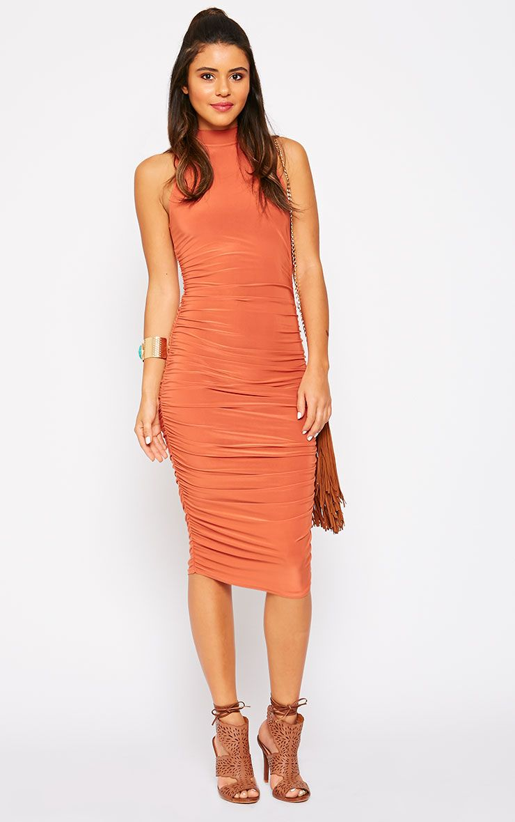 Alabama Rust Slinky High Neck Ruched Sides Dress 1