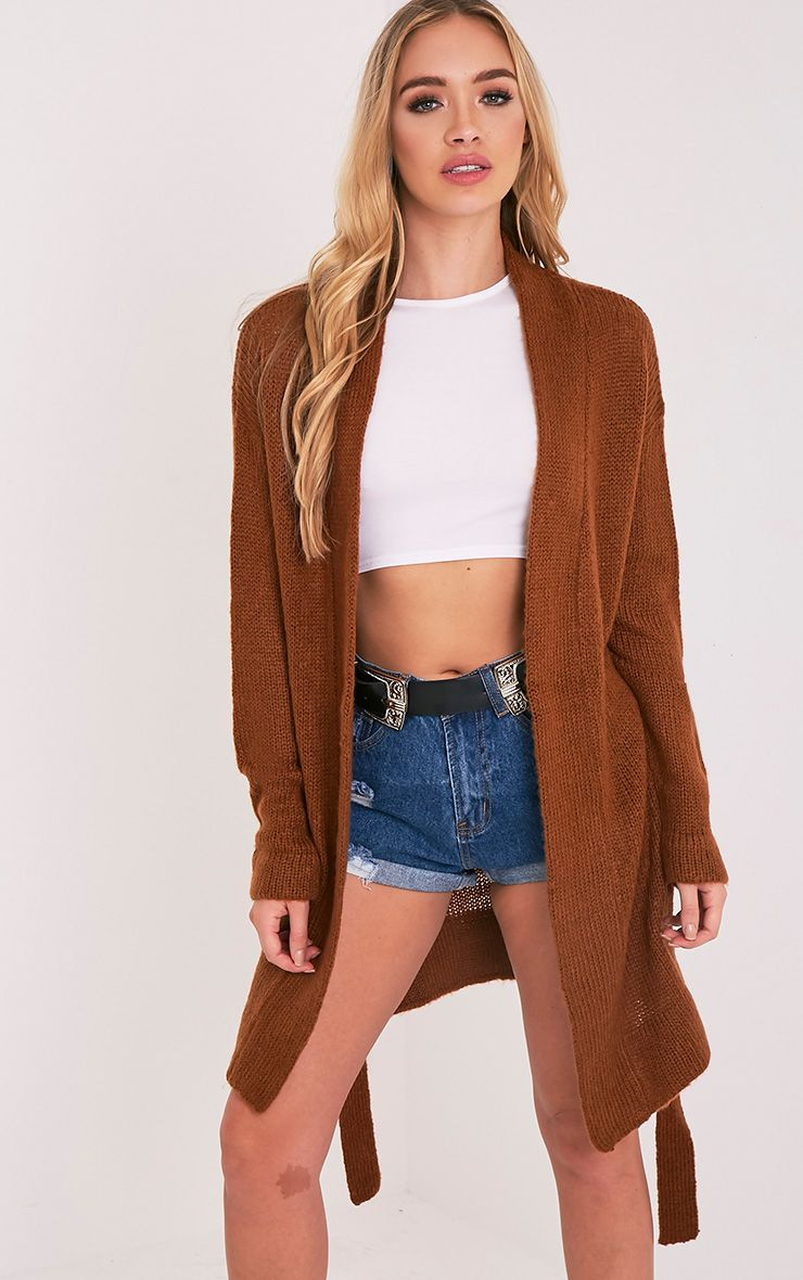 Sorelle Burnt Orange Belted Cardigan