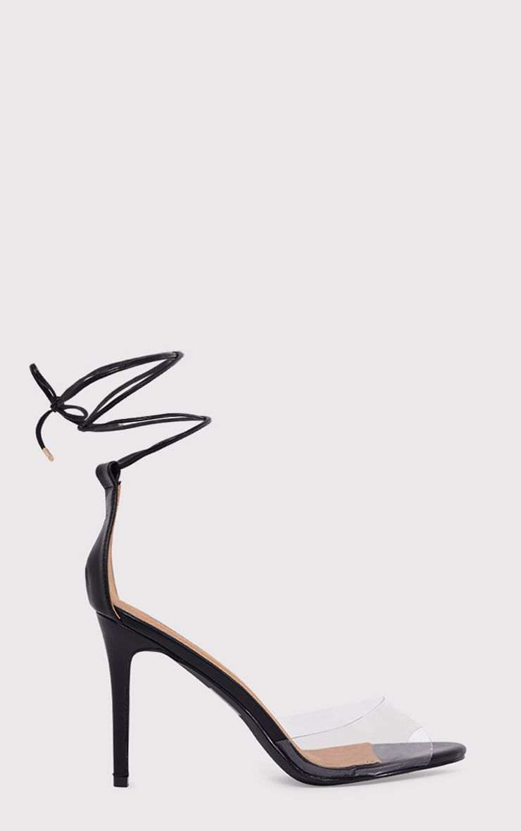 Maylie Black Clear Strap Lace Up Sandals