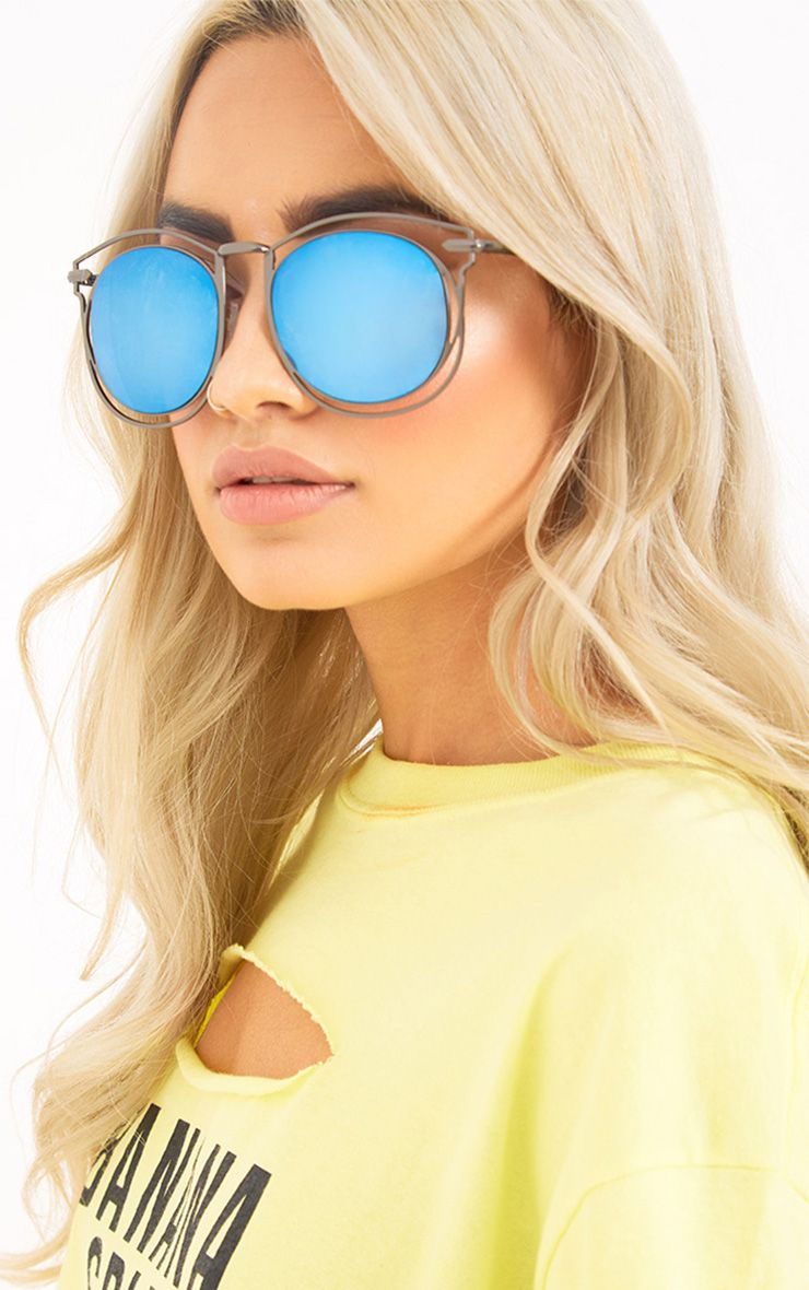 Krisa Blue Lens Cut Out Frame Sunglasses