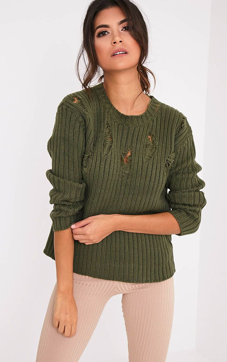 Avae Khaki Super Distress Thick Knit Jumper 1