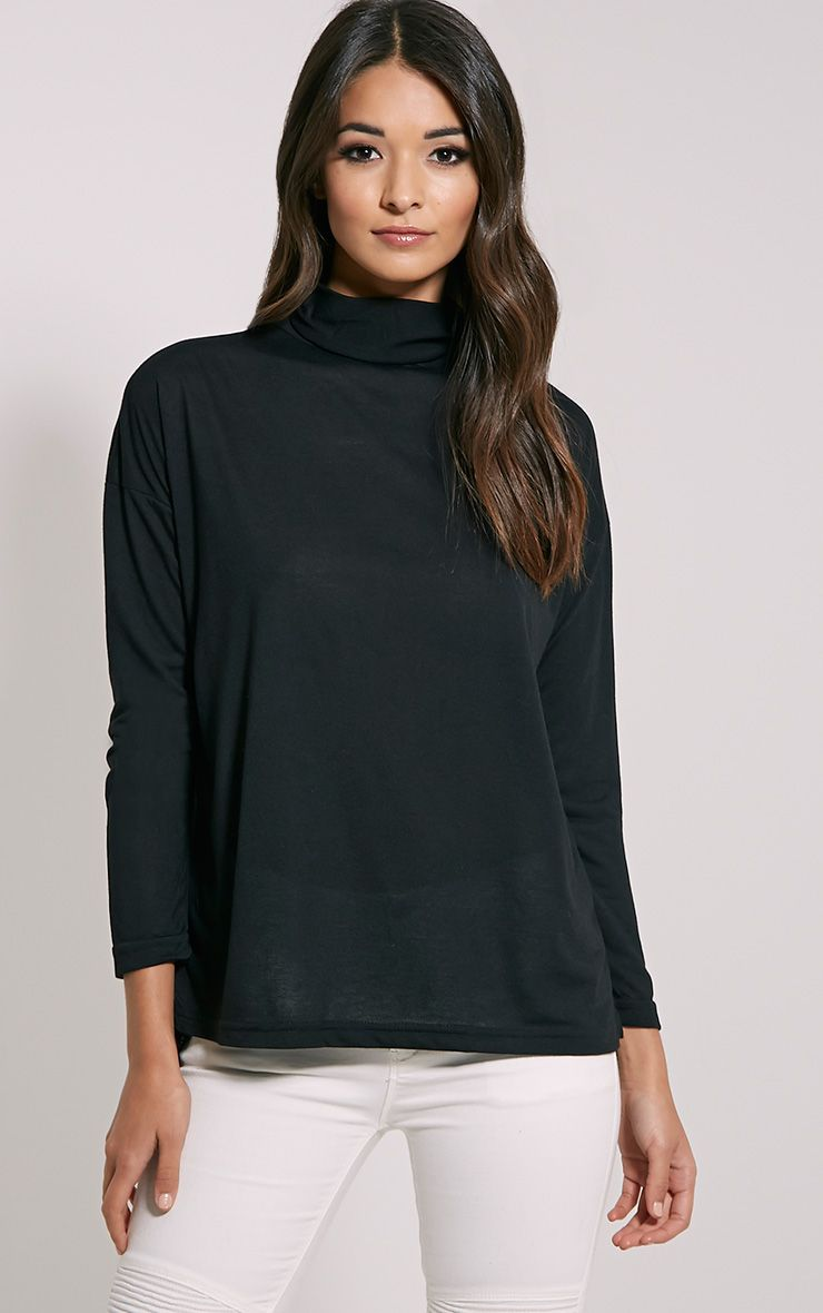 Thora Black Roll Neck Top 1