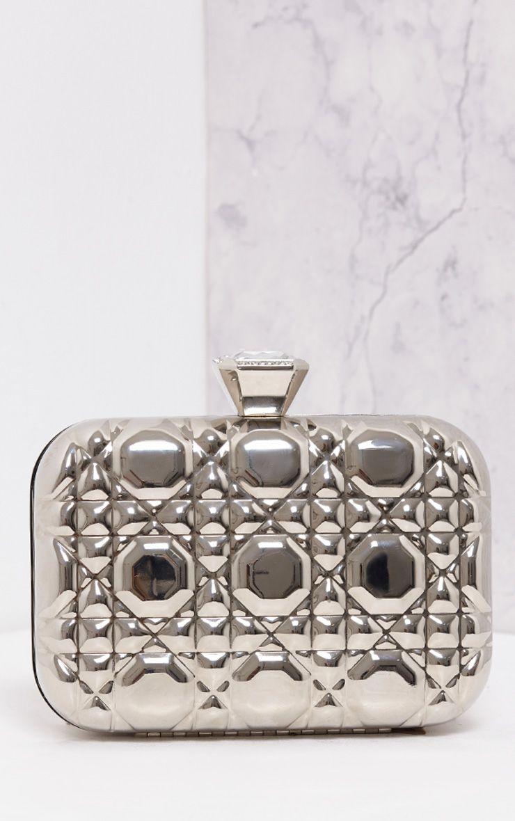 Balla Premium Silver Hard Box Clutch Grey
