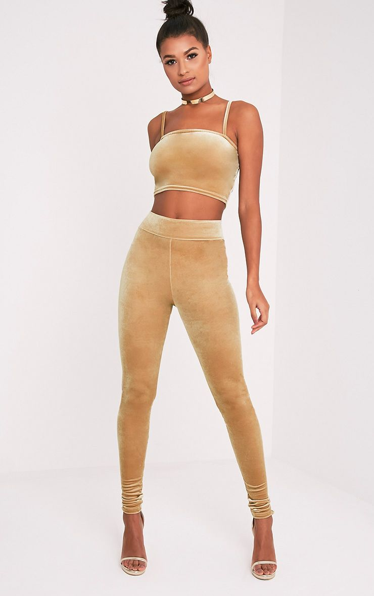 Eryn Champagne Velvet High Waisted Leggings 1