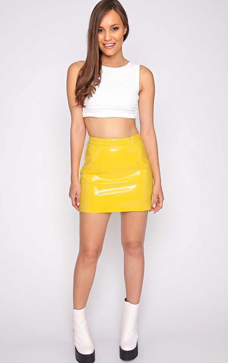 Daphn Yellow Pvc Mini Skirt Skirts Prettylittlething