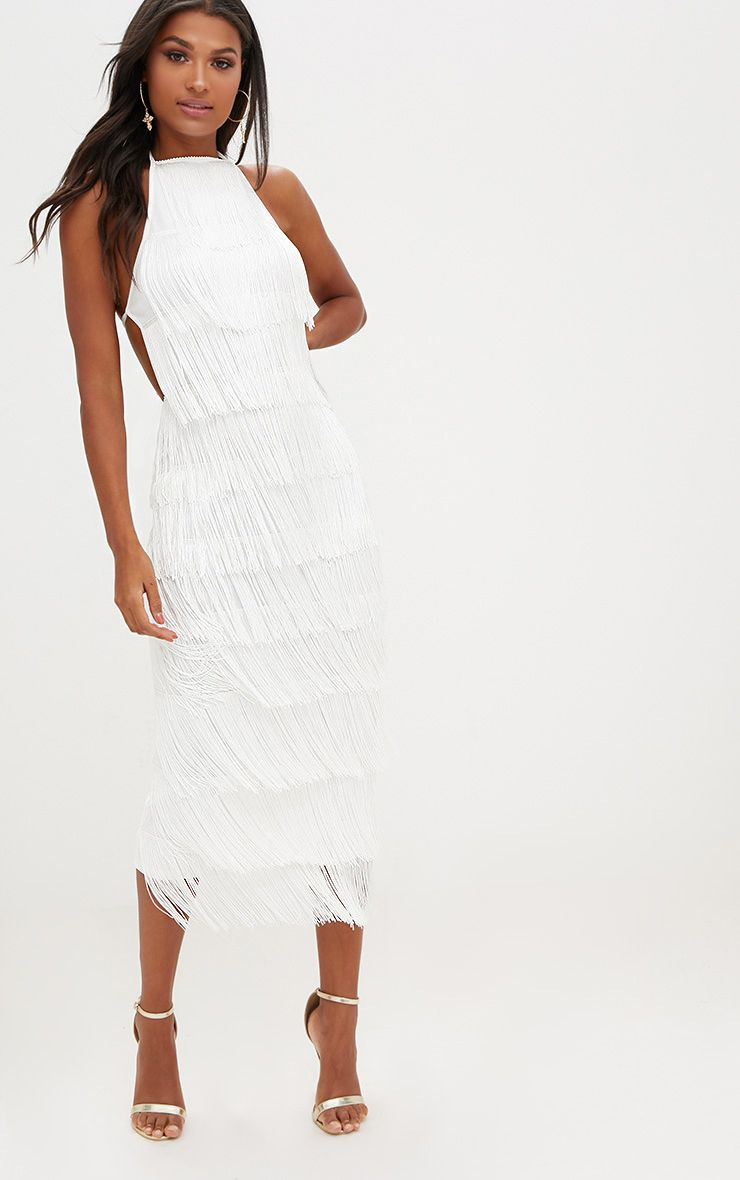 White Tassel Halterneck Midi Dress