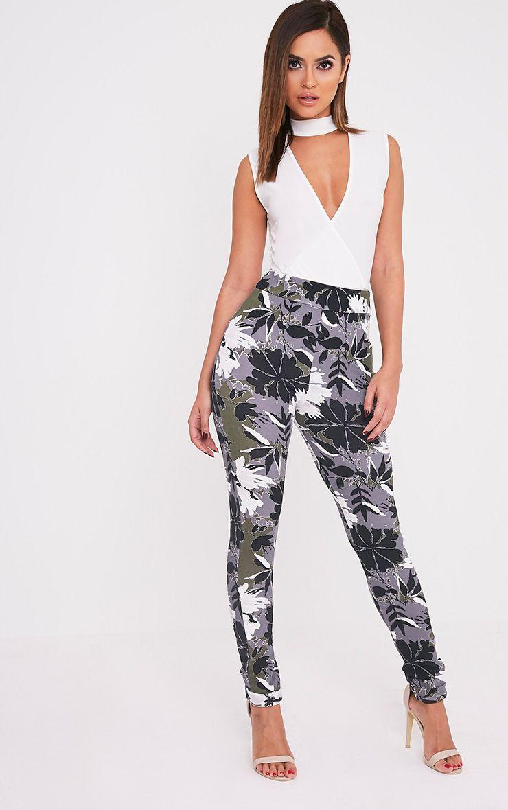 Ruth Khaki Floral Print Cigarette Trousers 1