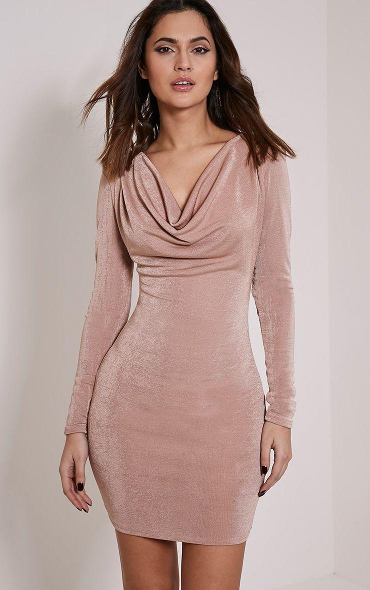 Rona Blush Cowl Neck Bodycon Dress 1