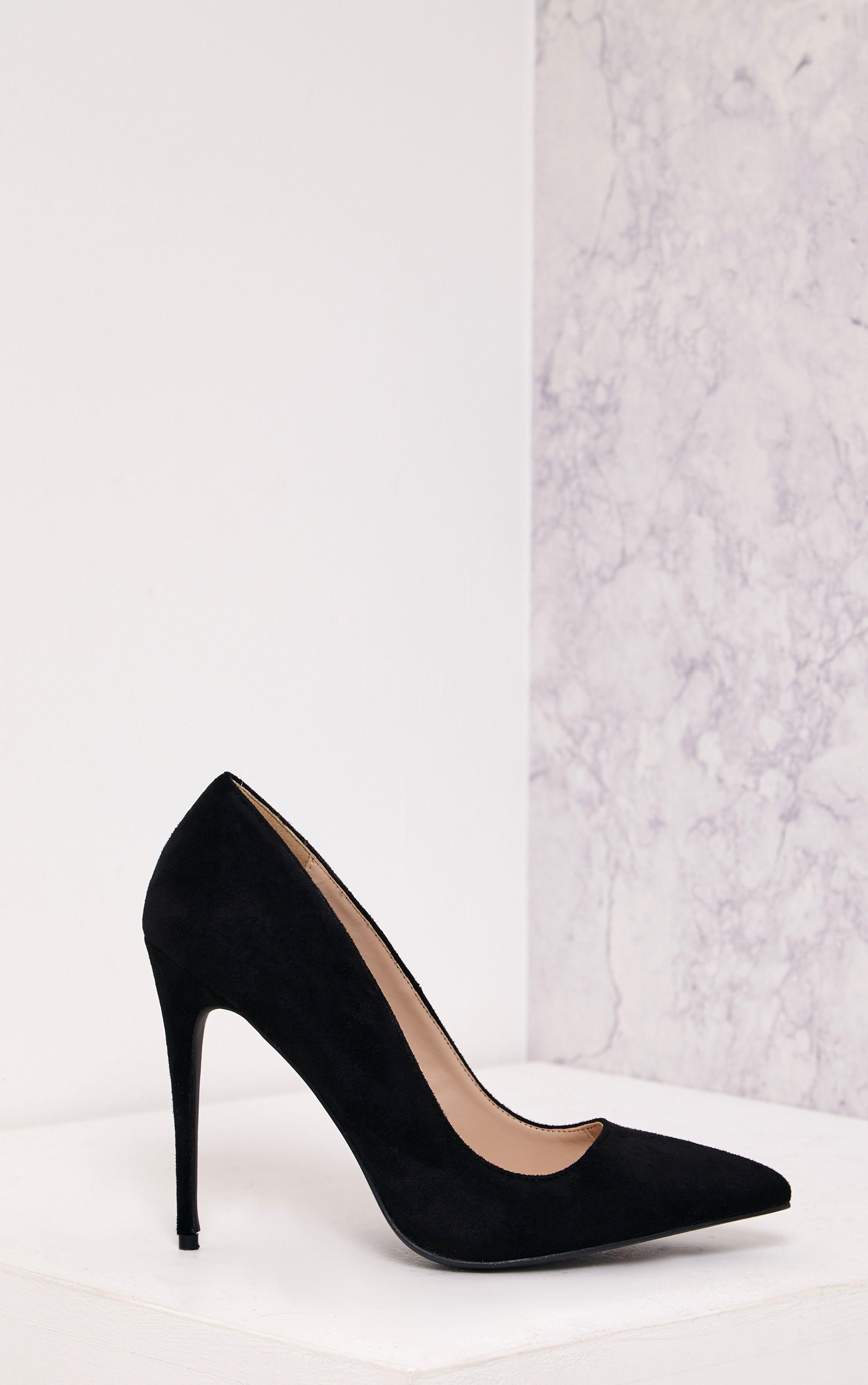 Dynah Black Faux Suede Pointed Heels