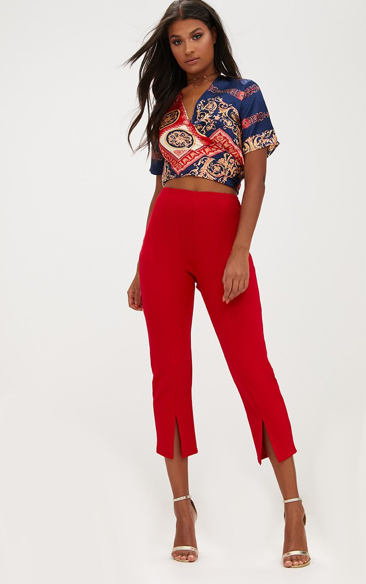 Red Front Split Straight Leg Trousers
