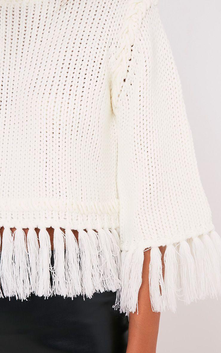 Shelia pull tricoté court à franges crème 6