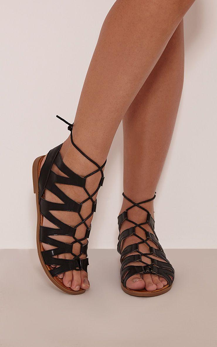 Brielle Black Cut Out Gladiator Sandals 1