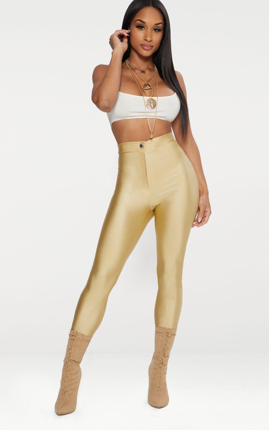 Champagne Second Skin Disco Trouser
