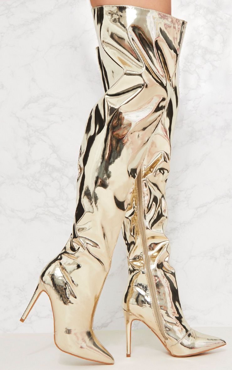 Gold Metallic Thigh High Boot