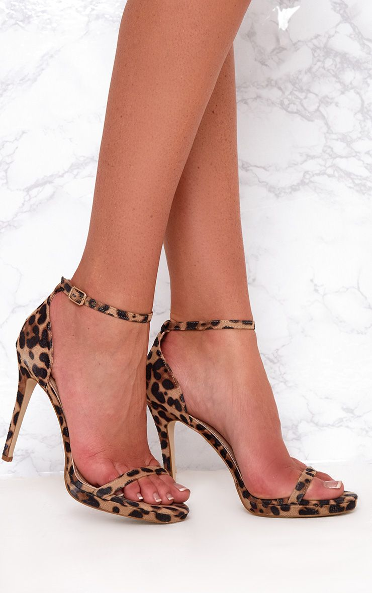 Brown Leopard Print Single Strap Heeled Sandals