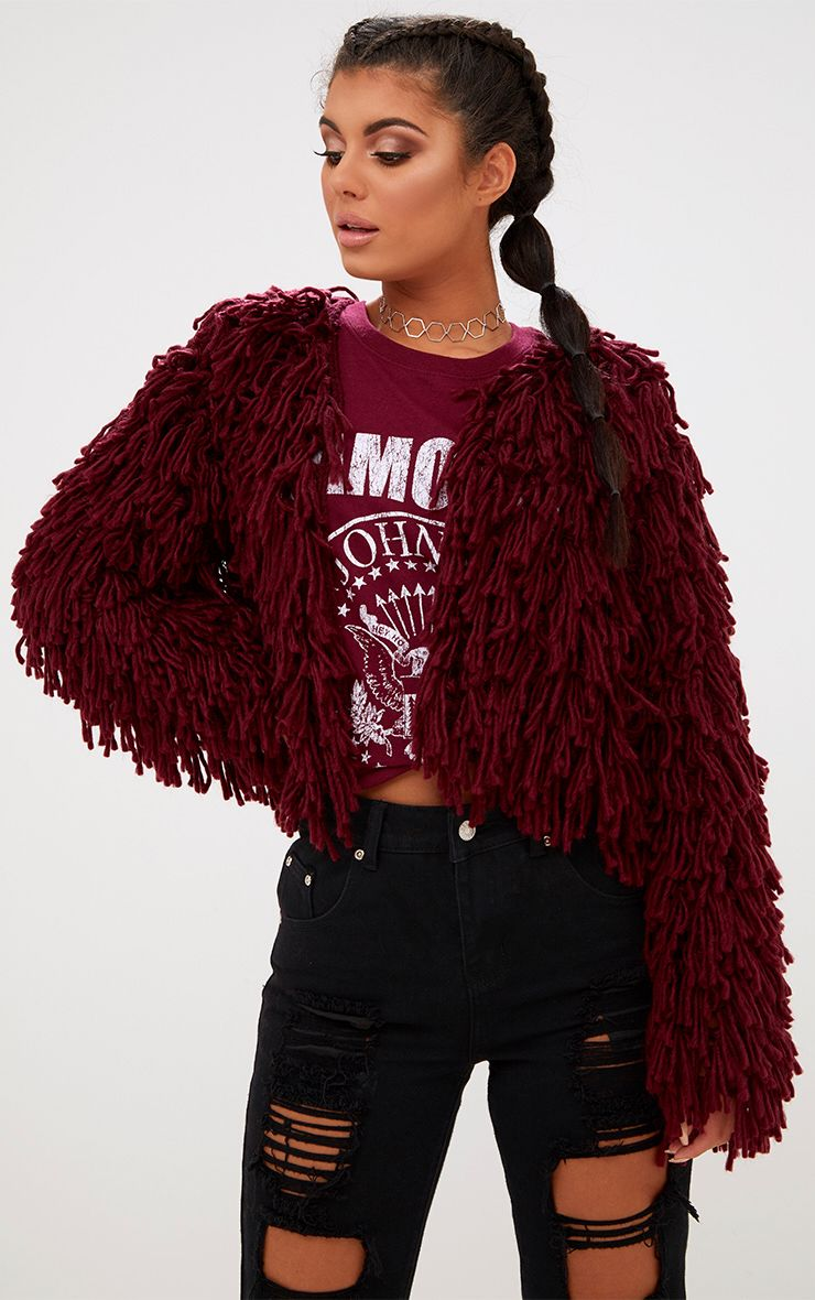 Burgundy Shaggy Knit Cropped Cardigan