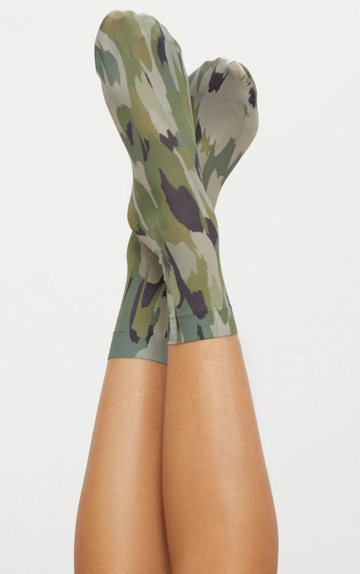 Green Sheer Camo Socks