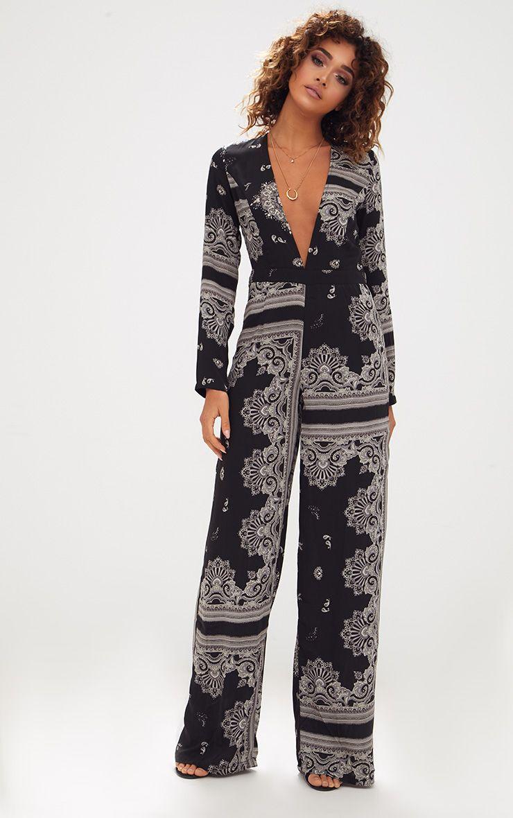 Black Scarf Print Long Sleeve Plunge Jumpsuit