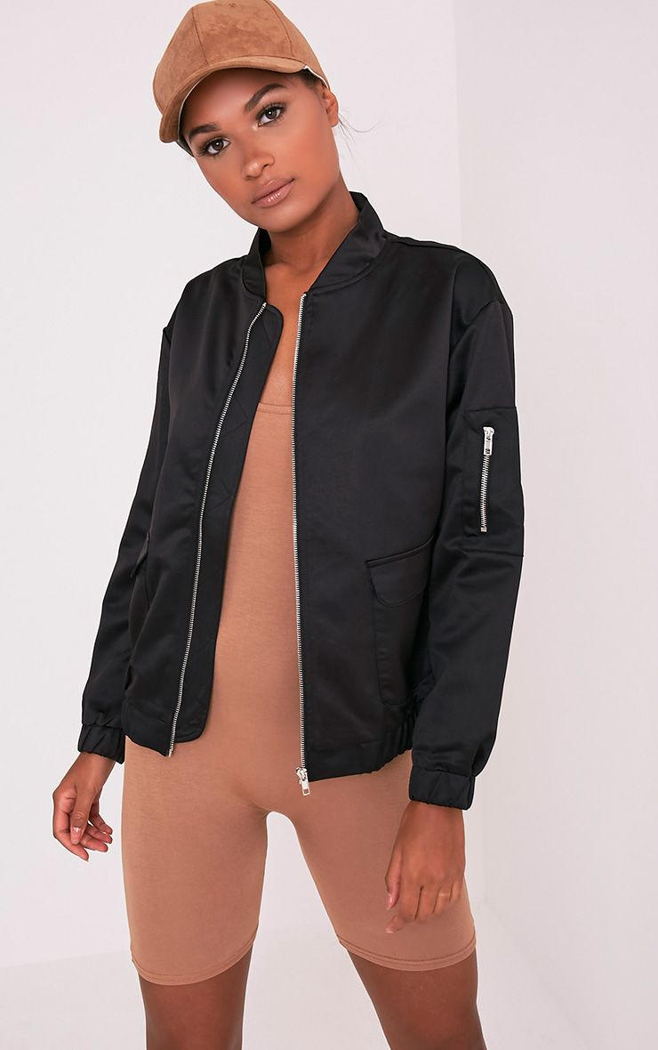 Daliya Black Satin Bomber Jacket