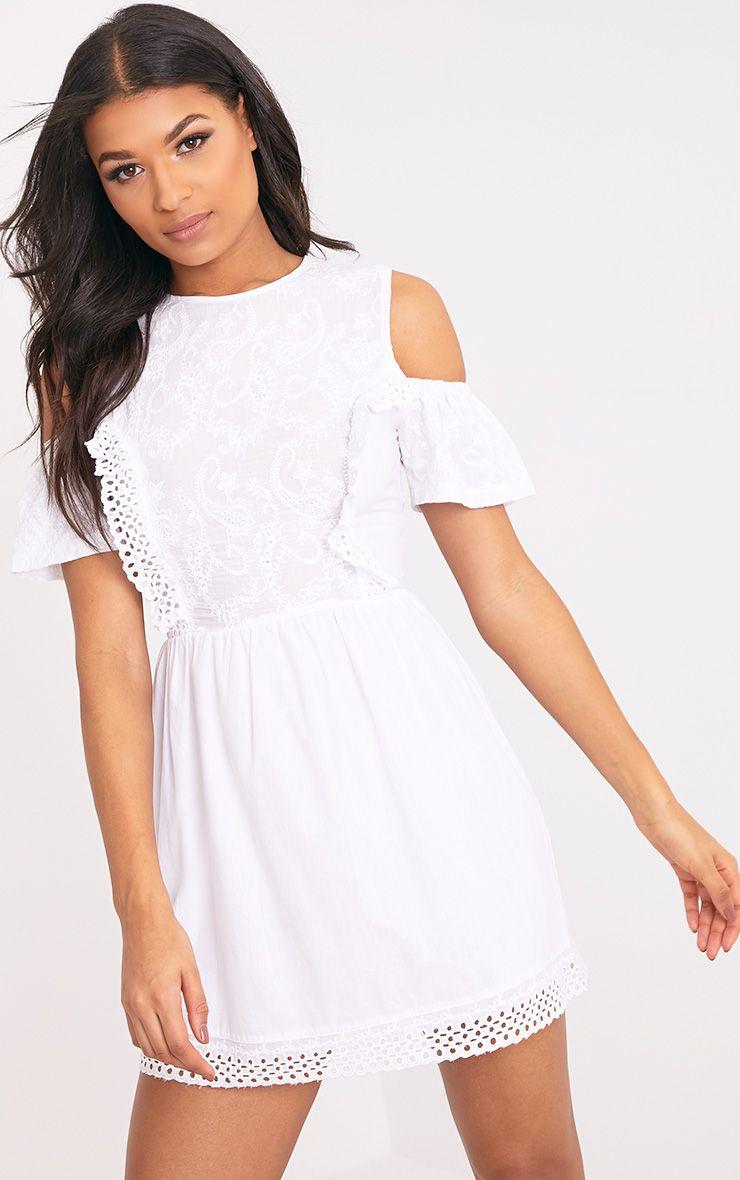 Ameliah White Cold Shoulder Crochet Swing Dress