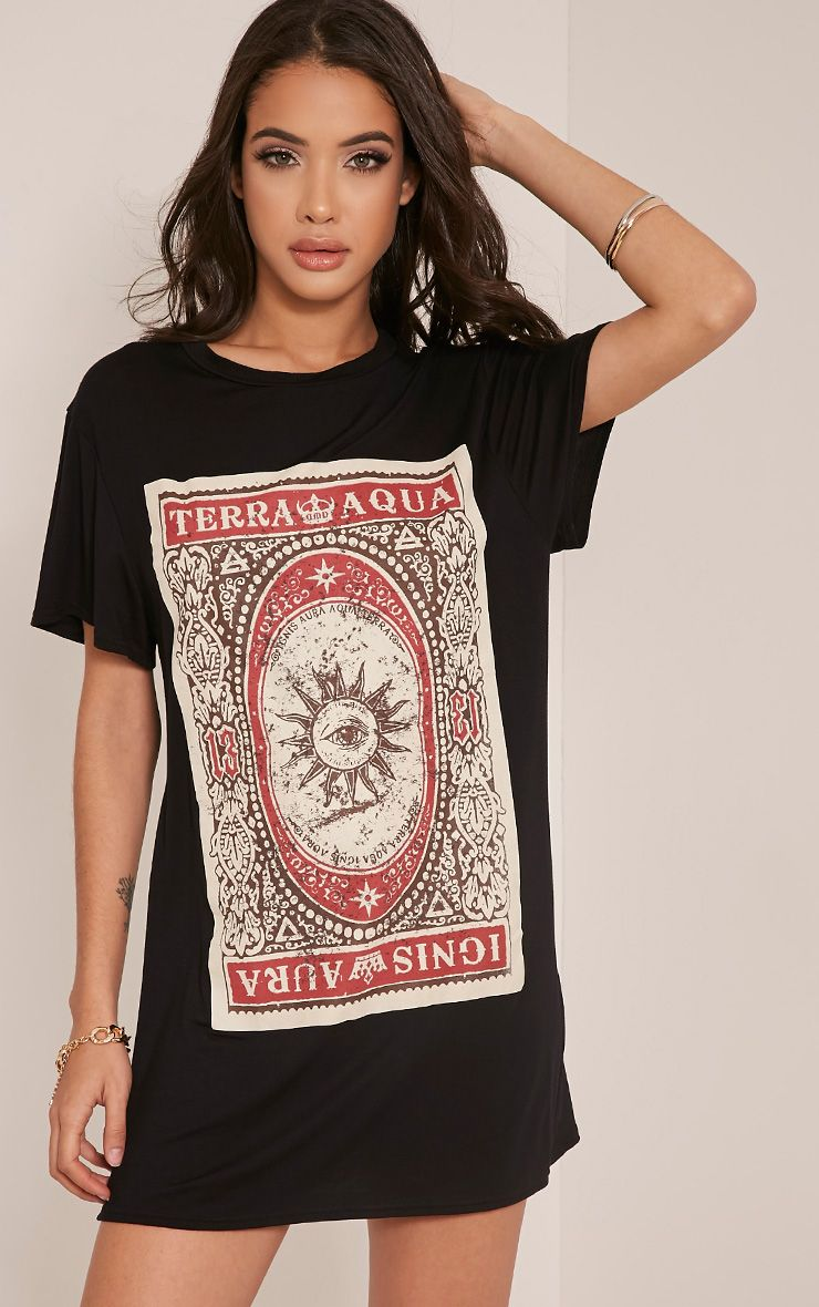 Tarot Card Printed Black T Shirt Dress