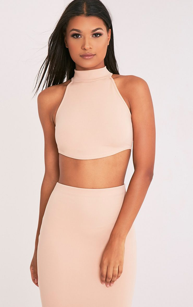 Nianna Nude Curved Hem High Neck Crop Top 1