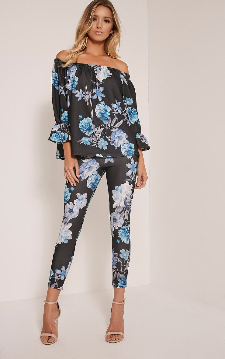 Evalyn Blue Floral Print Trousers 1