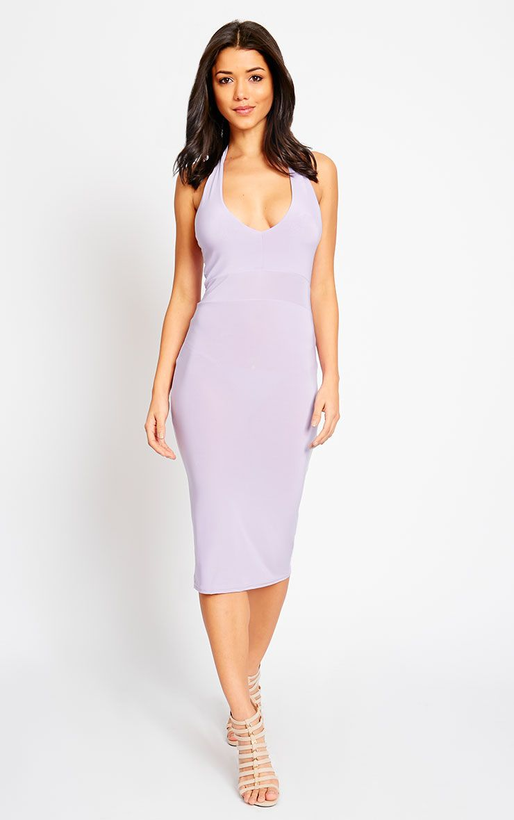 Lilly Lilac Slinky Halterneck Midi Dress 1