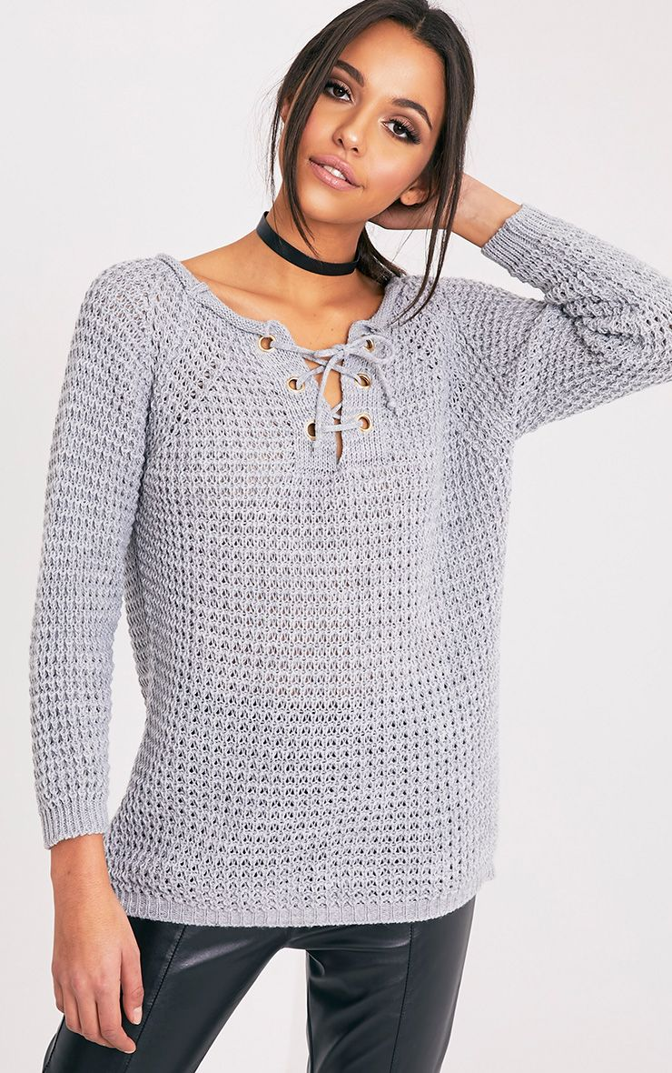 Haidyn Grey Lace Up Knitted Jumper