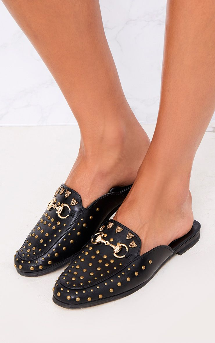 Black Studded Mules