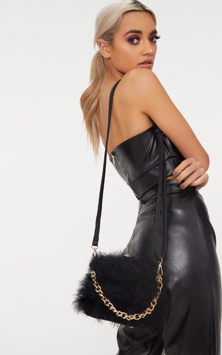 Black Marabou Feather Clasp Chain Handle Bag