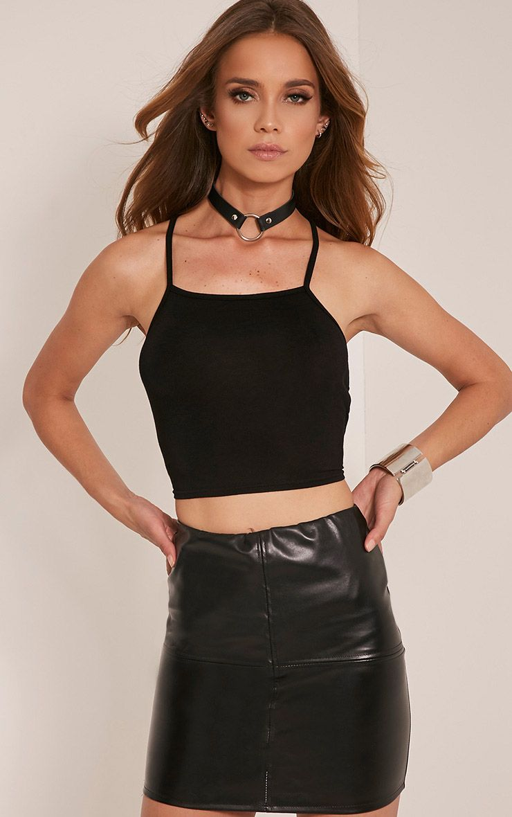 Albany Black Lace Up Back Crop Top 1
