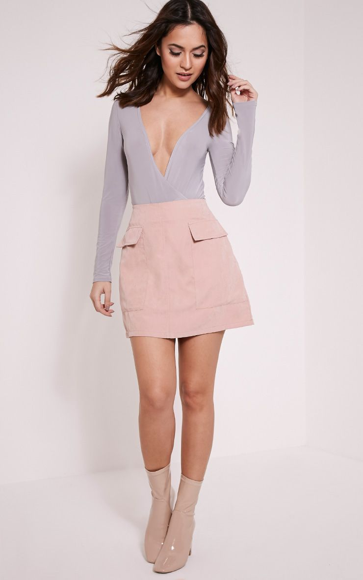 Lottie Blush Faux Suede Pocket Front Mini Skirt 1