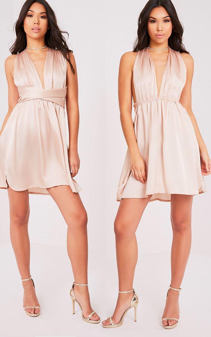 Tara Champagne Silky Multiway Mini Dress 1