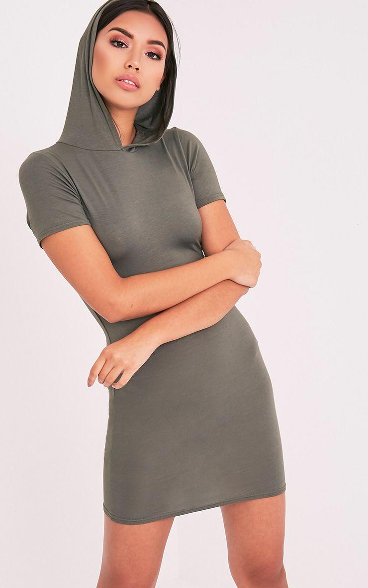 Ruby Khaki Jersey Hooded Short Sleeve Bodycon Dress 1