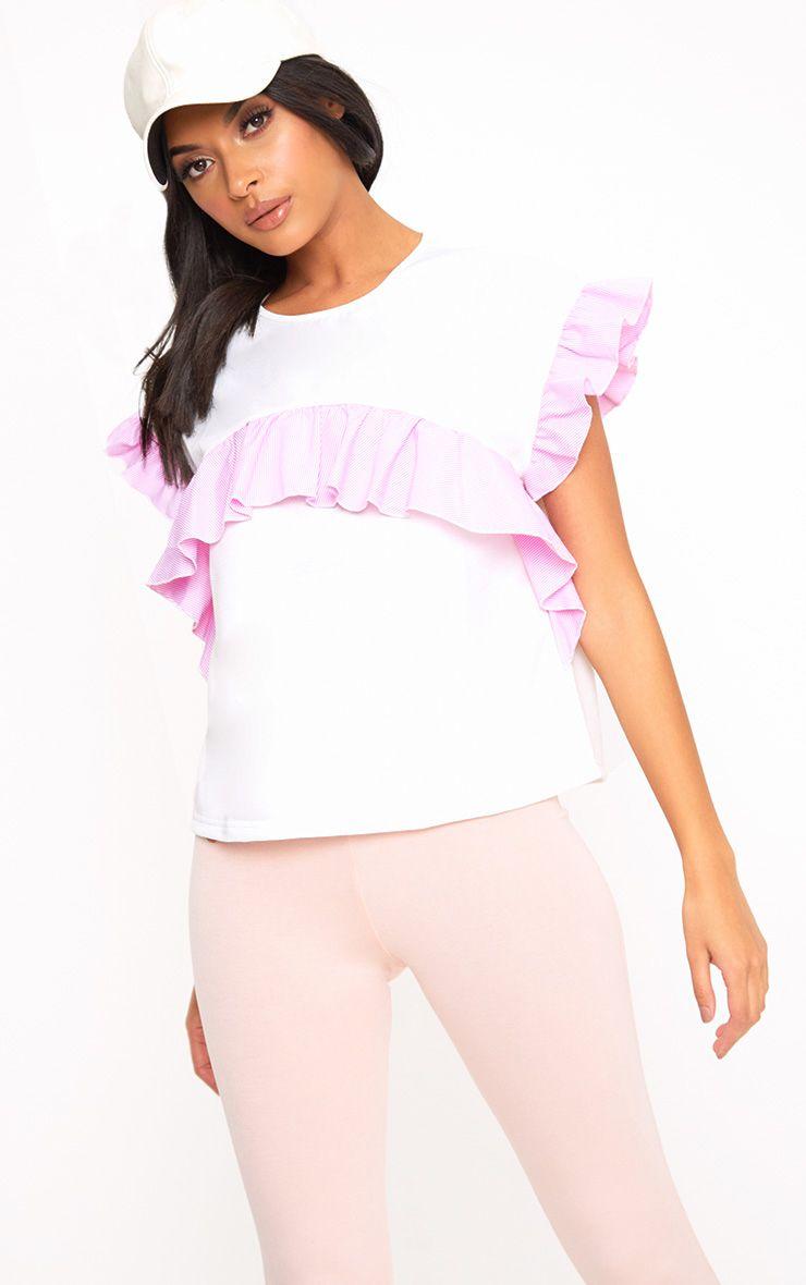 White Shirt Frill Detail T Shirt 1